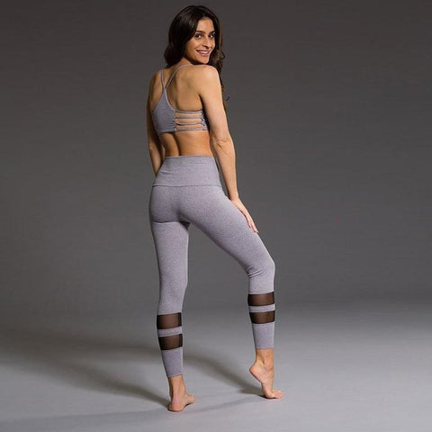 Fitness Solid Sport Leggings High Waist Mesh Leggings