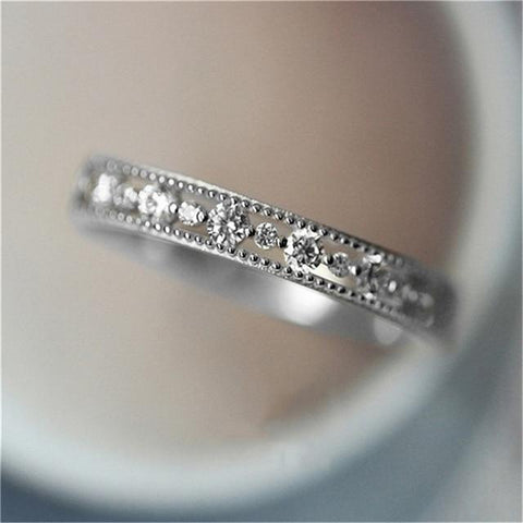 Simple Hollow Out Cubic Zirconia Ring