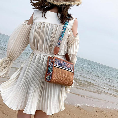 Vintage Straw Shoulder Crossbody Bag