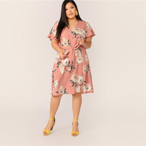 Plus Size Pink Self Belted Floral Print Tunic Dress