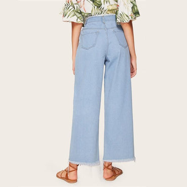 Casual Blue Frayed Hem Wide Leg Jeans