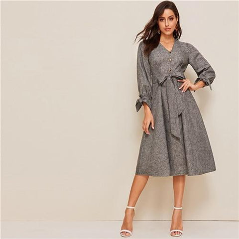 Button Front Knot Cuff Self Belted Dress Dress