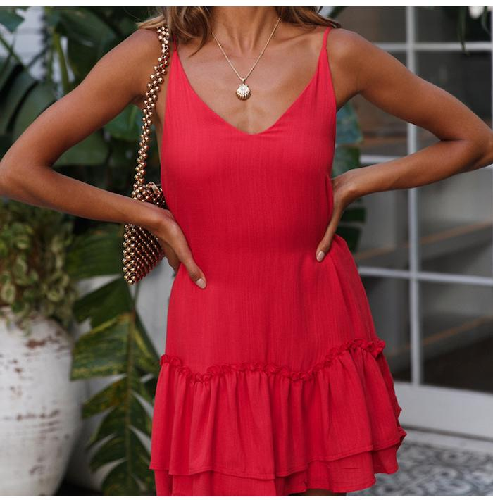 Sexy Red Party Beach Summer Spaghetti Strap Backless A Line Mini Dress