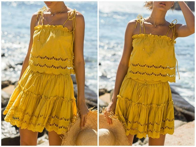 Casual hollow out summer Elegant ruffle cotton dress