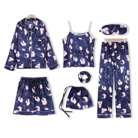 Pink 7 Pieces Emulation Silk Striped Pajamas Sleepwear Sets