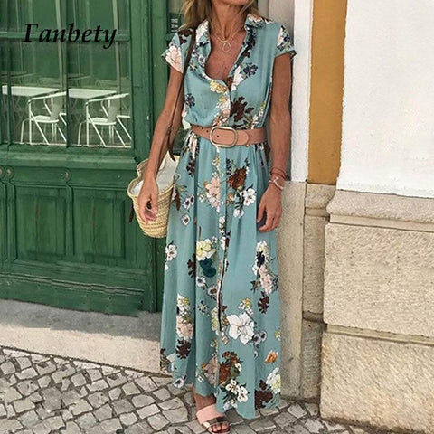 Elegant button Short-sleeved trun-down collar shirt Boho Long Maxi Dress