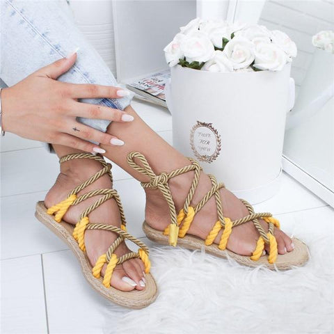 Fashion  Boho Women Sandals Lace Up  Hemp Rope Rome Sandals