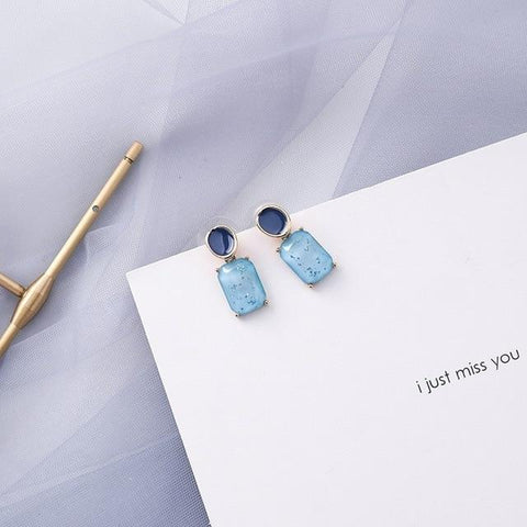 Summer Blue Geometric Acrylic Irregular Hollow Circle Round Square Drop Earrings
