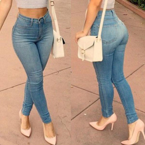 Casual Pants Skinny Elastic Full Length Zipper Fly Middle Waist  Pencil Jeans