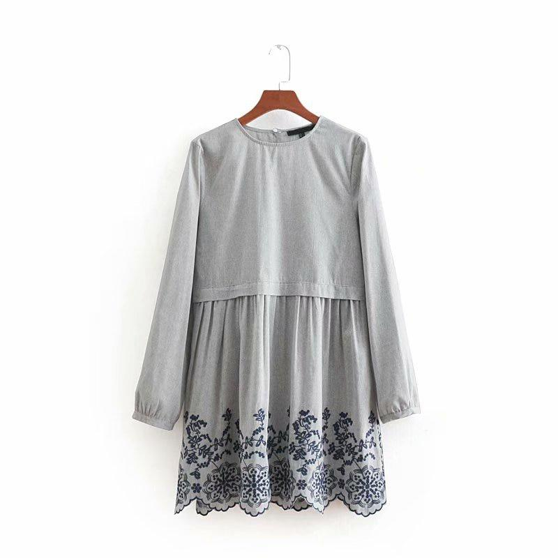 Vintage Round Neck Long Sleeve Embroidery Dress