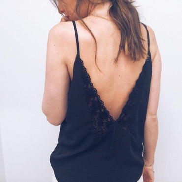 Summer Lace Top Sleeveless V Neck Tank Loose Vest Open Back Tee