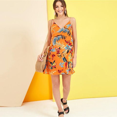 Tropical Print Cami Dress Orange Yellow Boho Straight Dress
