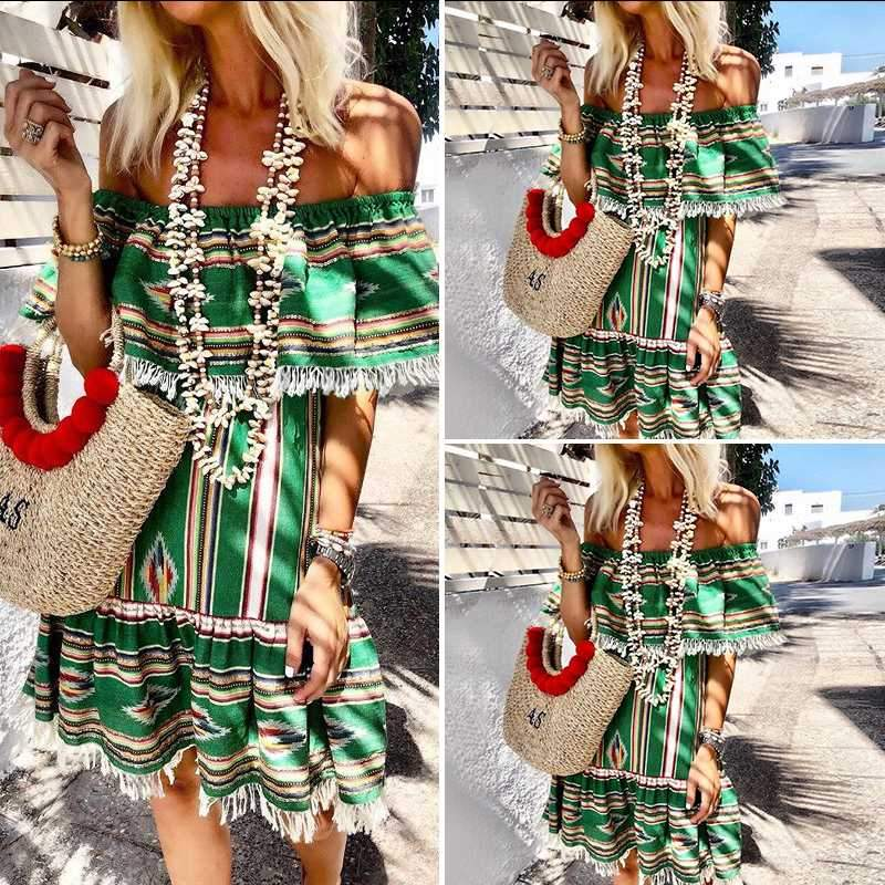 Sexy Off Shoulder Printed Vintage Slash Neck Casual Sundress