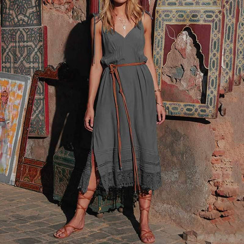 Bohemian Sexy Spaghetti Strap V-neck Sleeveless Lace Patchwork Split Dress