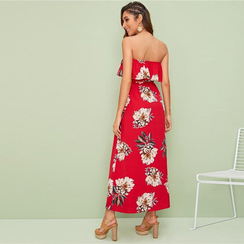 Red Foldover Front Floral Print Wrap Tube Bohemian Maxi Dress