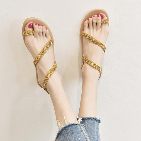 Gold Crystal Gladiator Sandals Flop Flip boho Studded Sandal