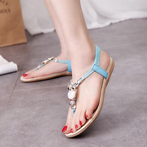 Hot fashion women sandals elastic t-strap bohemia beaded owl slipper flat sandals