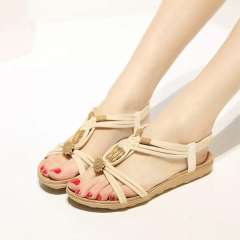 Bohemia Gladiator Beach Flat String Bead Casual Sandals