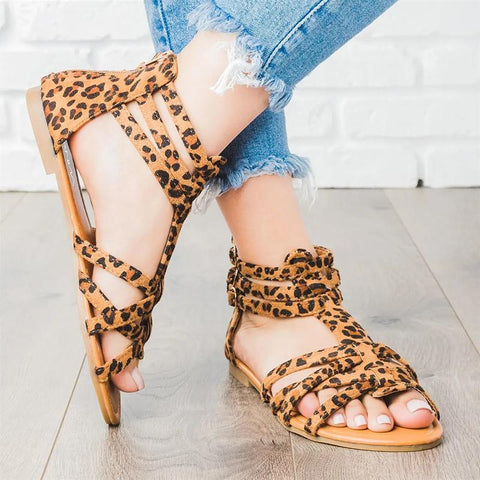 Casual Shoes Flat Heels Sandals Gladiator Colorful Bohemia Zip Open Toe Ankle Strap Sandals