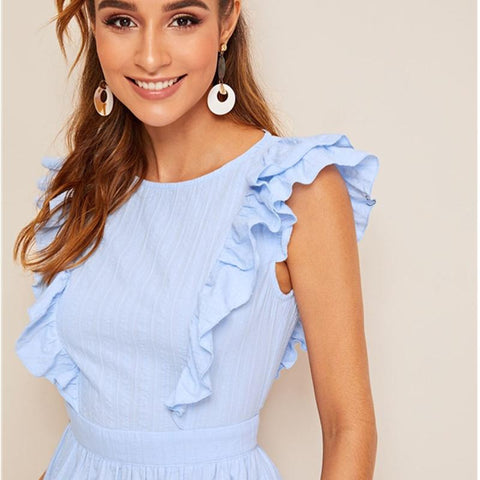 Blue Solid Knot Backless Tiered Layered Ruffle Boho Short Dress