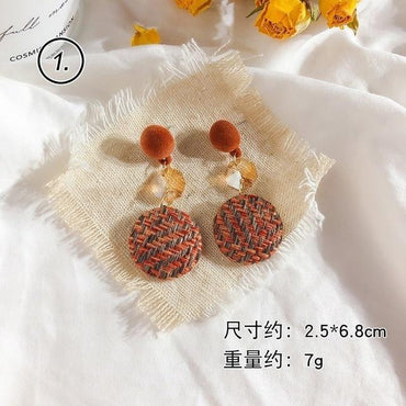 Bohemian Flower Orange Geometric Fringe Pendant Earrings