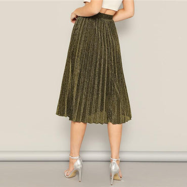 Casual Gold Glitter Pleated A Line Elastic Waist Flared Skirts Ladies Solid Midi Skirt