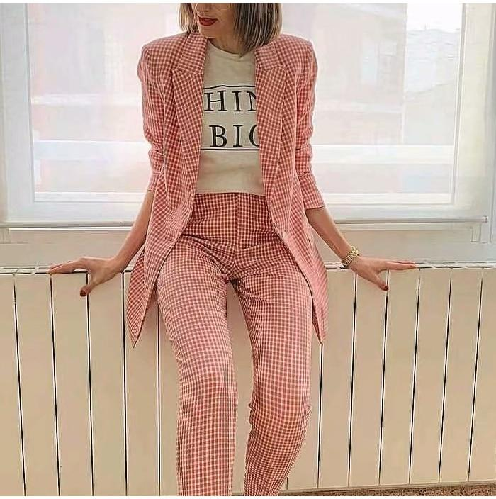 Pink Plaid Casual Office Lady Long Suit Blazer