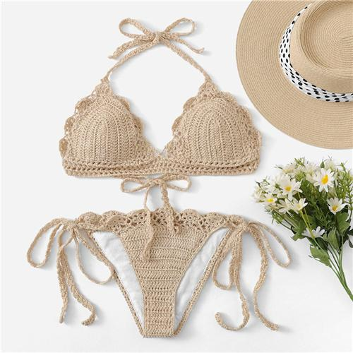 Scalloped Trim Crochet Halter Top With Tie Side Bottoms Bikinis Set
