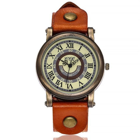 Vintage Women's Casual Quartz Leather Band v Strap Watch Analog Wrist Watch