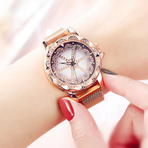 Magnet Buckle Starry Surface Casual Quartz Wristwatch
