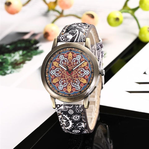 Bohemian Style Watch Leather Band Stainless Steel Analog Quartz Wristwatch