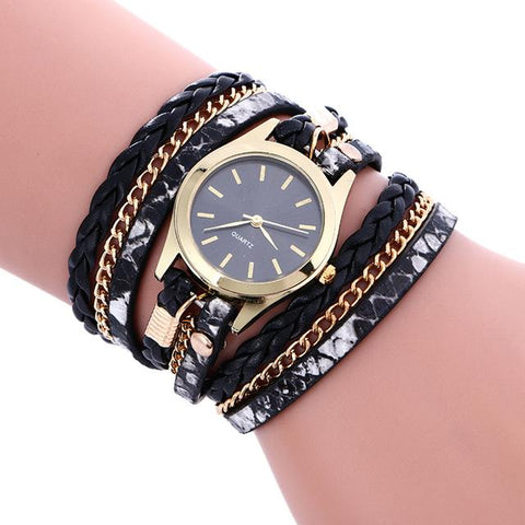 Bohemian Style Weave Leather Bracelet Quartz Analog Wrist Watch