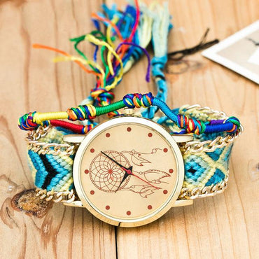 Bohemian Ethnic Handmade Weave Analog Quartz Wristwatch