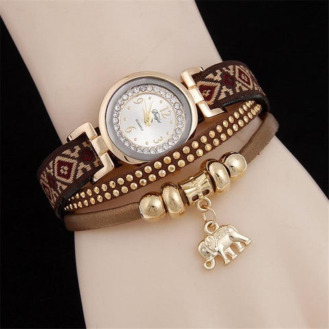 Retro Weave Rivet Diamonds Bracelet Watches