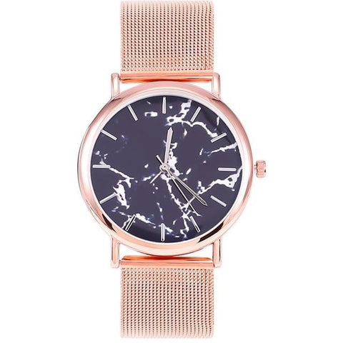 Fashion Women Watch Silver And Gold Mesh Band Creative Marble Wristwatch