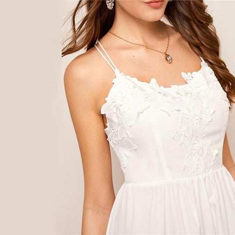 Casual Contrast Lace Trim Cami Backless Double Criss-cross Dress