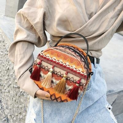 Bohemian Woven Shoulder Tote Straw Bag
