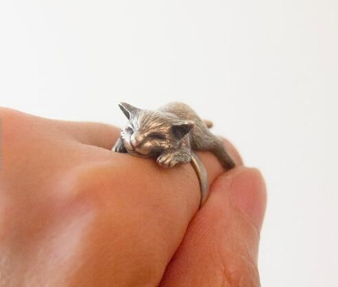 Handmade Cute Retro Kitty Sleeping Cat Ring