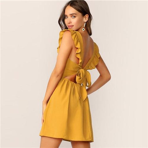 Solid Ruffle Trim Backless Tie Back Boho Sleeveless Fit And Flare Glamorous High Waist Dresses