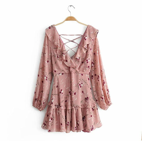 Boho Floral Lace Up Back Sexy  Ruffles Long Sleeve Chiffon Wrap Dress