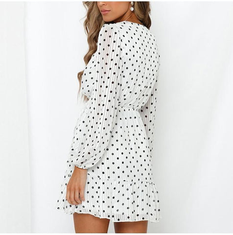 Elegant Polka Dot White Chiffon Self-tie Waist Long Sleeve A Line Ruffle Dress