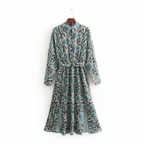 vintage snake skin print shirtdress bow sashes pleated midi dress