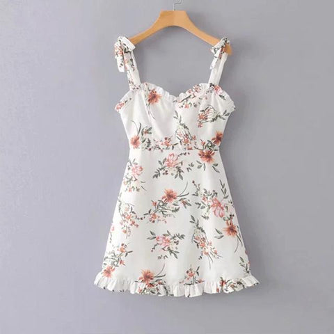 cute back bow print boho beach sundress