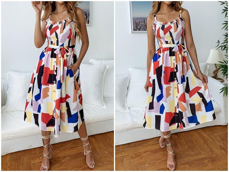 Geometric print streetwear knee length sundress