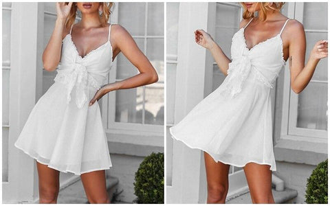 Elegant ruffle bow tie cotton mini dress