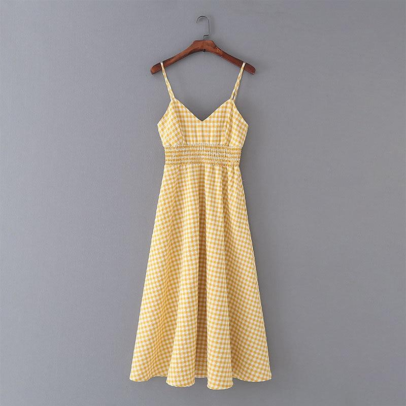 Yellow Plaid Holiday Sexy Backless Sleeveless V Neck Elastic High Waist A-line Dress