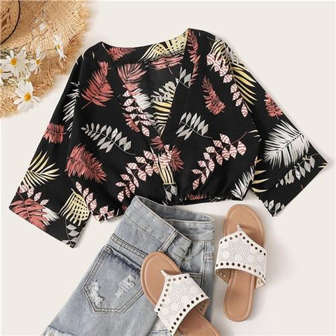 Multicolor Plants Print Crop Bohemian Blouse