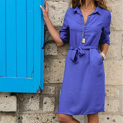 Half Sleeve Turndown Shirt Pocket Sashes Dress