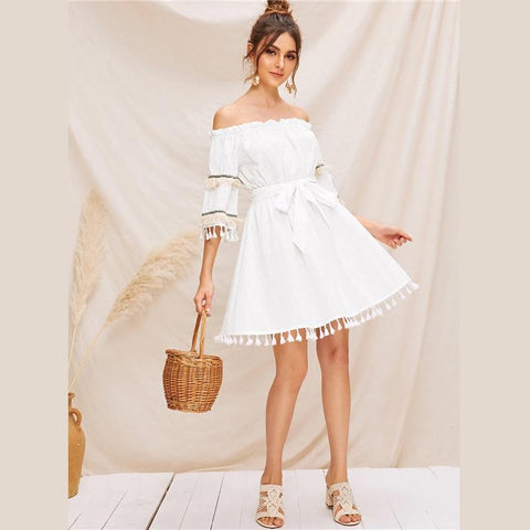 White Off Shoulder Ruffle Trim Tassel Trim Belted Bardot Dress