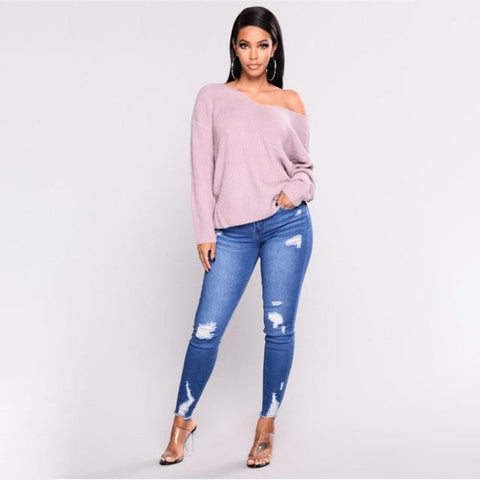 High Waist Slim Hole Ripped Denim Jeans